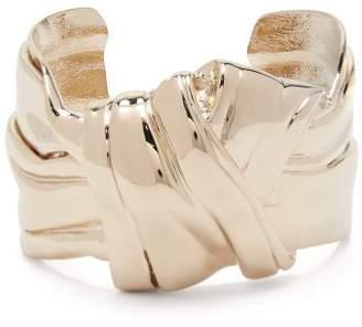 Saint Laurent Twisted Knot Brass Cuff - Womens - Gold
