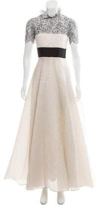 Alex Perry Lace & Metallic Evening Dress