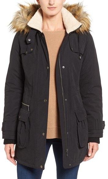 Halogen ® Hooded Anorak with Faux Fur Trim (Regular & Petite)