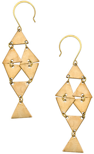 Blydesign Ayo Brass Triangle Fish Earrings