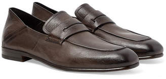 Ermenegildo Zegna L'Asola Collapsible-Heel Textured-Leather Penny Loafers - Men - Dark brown