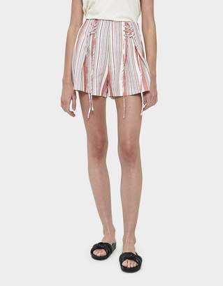 Farrow Cassie Lace-Up Stripe Shorts