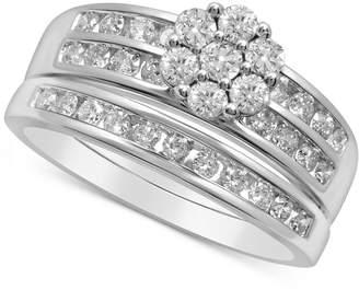 Macy's Diamond Flower Cluster Bridal Set (7/8 ct. t.w.) in 14k White Gold