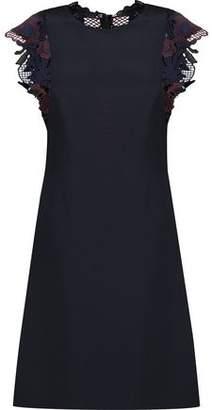 3.1 Phillip Lim Guipure Lace-Paneled Silk Crepe De Chine Mini Dress