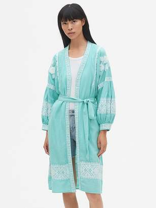 Gap Embroidered Balloon Sleeve Robe Jacket