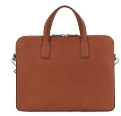 BOSS Zipped document case in Italian leather with contrast stitching