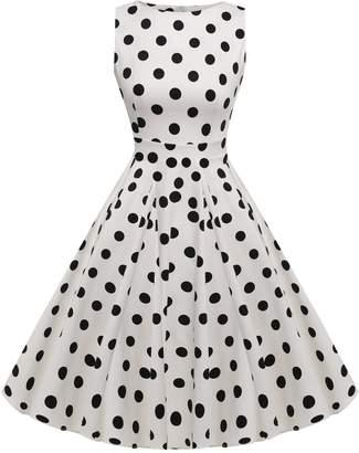 ACEVOG Womens Slim Fit Floral Scoop Neck Sleeveless Midi Dress