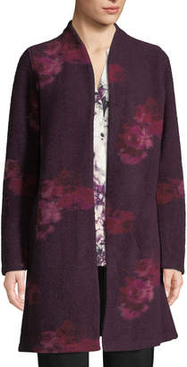 Iconic American Designer Floral-Print Boiled Wool Jacket
