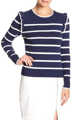 Cupcakes And Cashmere Bryant Striped Ruffle Detail Crew Neck Sweater