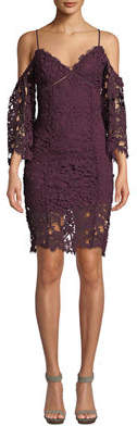Astr Giselle Cold-Shoulder Layered Lace Dress