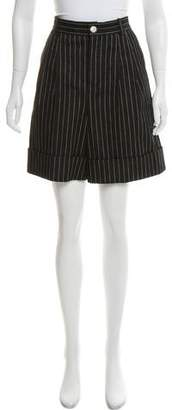 Chanel Striped High-Rise Shorts