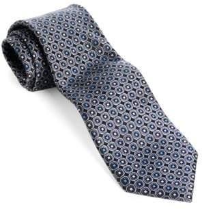 Black & Brown Black Brown Classic Fit Dot Printed Silk Tie