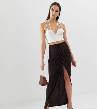 Asos Tall DESIGN Tall exclusive drape wrap slinky maxi skirt