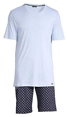 Hanro Men's Two-Piece T-Shirt & Shorts Pajama Set