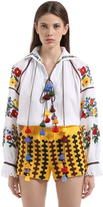 Floral Embroidered Linen Blouse
