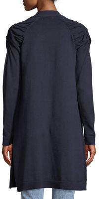 Neiman Marcus Shirred-Shoulder Open Front Duster Cardigan