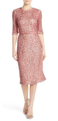 French Connection Belted Sequin Mesh Midi Dress $298 thestylecure.com