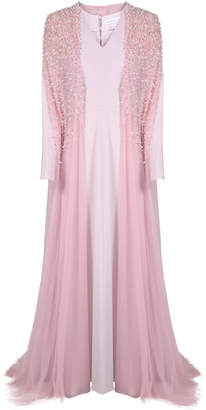 Shatha Essa Rose Long Sleeve Gown with Embellished Cape