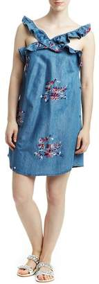 Romeo & Juliet Couture Ruffle Trim Floral Embroidered Dress
