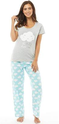 Board Angels Womens Jersey Short Sleeve Top And PJ Pants Set Aqua/Grey