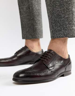Ted Baker Larriy Leather Brogue Shoes In Burgundy