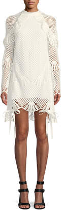 Self-Portrait Self Portrait Crewneck Crochet Lace Short Tunic Dress