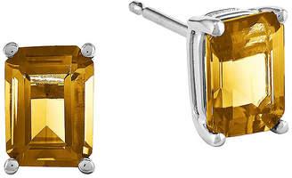 FINE JEWELRY Genuine Citrine 14K White Gold Emerald-Cut Stud Earrings