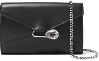 Alexander McQueen Pin Crystal-embellished Leather Shoulder Bag - Black