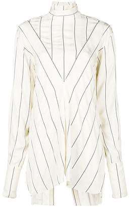 Rokh striped band collar blouse