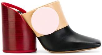 oversized button mules