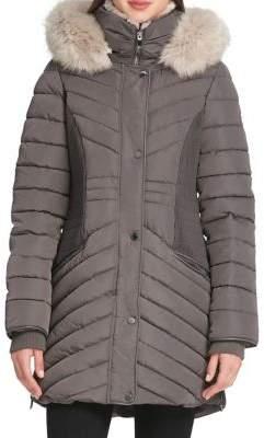 Donna Karan Faux Fur-Trimmed Quilted Coat