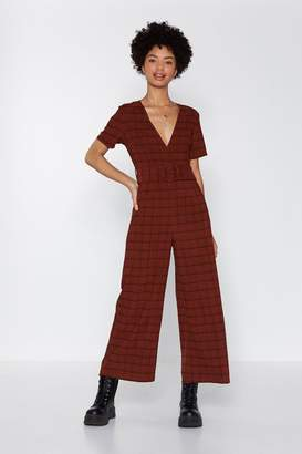Nasty Gal High Check Belted Jumpsuit