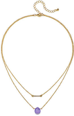MIXIT Mixit Purple Stone 2-Row Gold-Tone Necklace