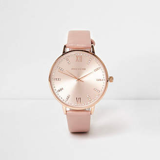 River Island Pink rose gold tone round watch