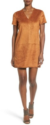 Women's Catherine Catherine Malandrino 'Marcella' Whipstitch Detail Faux Suede Shift Dress