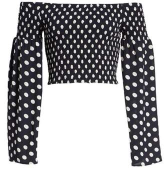 Mimichica Mimi Chica Polka Dot Print Bell Sleeve Crop Top