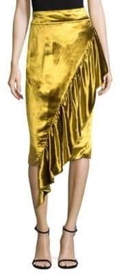 Milly Panne Velvet Midi Skirt