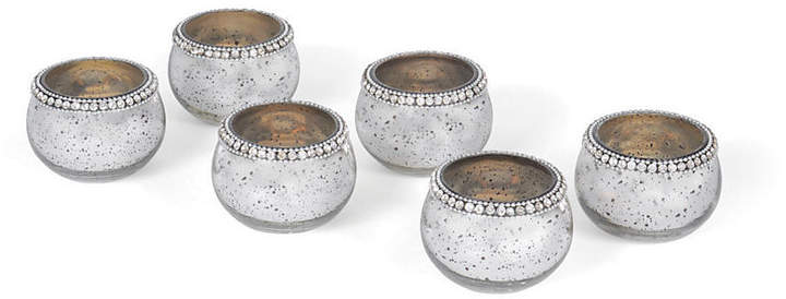 Set of 6 Adela Glass Votives - Silver