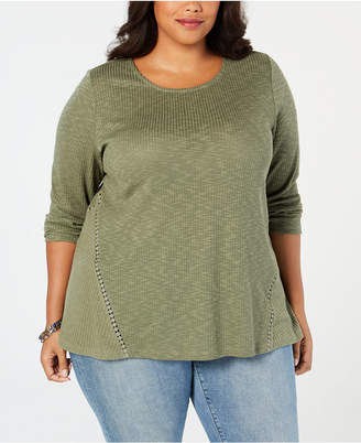 Style&Co. Style & Co Plus Size Waffle-Knit Top