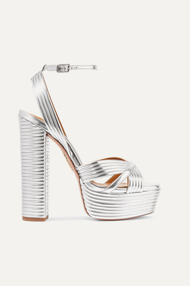 Aquazzura Sundance 150 Metallic Faux Leather Platform Sandals - Silver