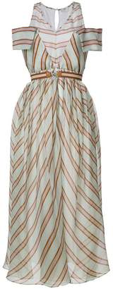 Fendi striped flared midi dress