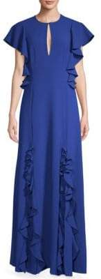 Sachin + Babi Key-Neck Ruffle Gown