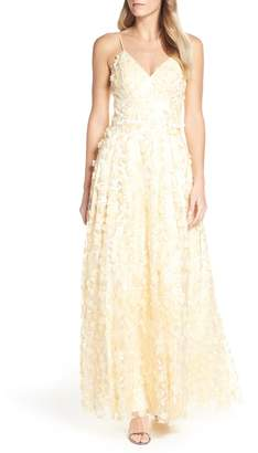 Eliza J Floral Applique Evening Dress