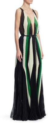 Art Deco Plunging Pleat Gown