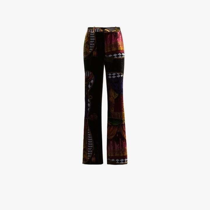 high-waisted Sipario print silk blend velvet trousers