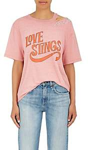 "Opening Ceremony Women's ""Love Stings"" Embellished Cotton-Blend T-Shirt - Pink"