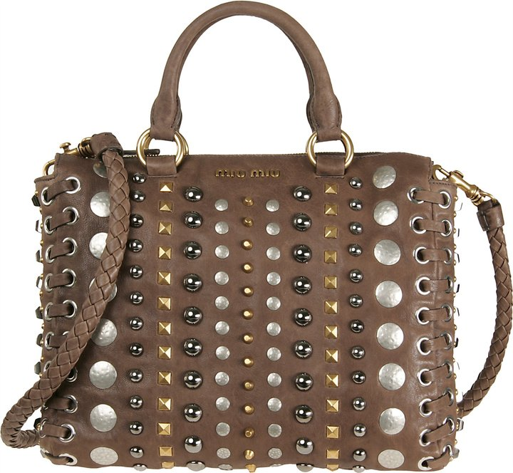 Miu Miu Studded Leather Handbag
