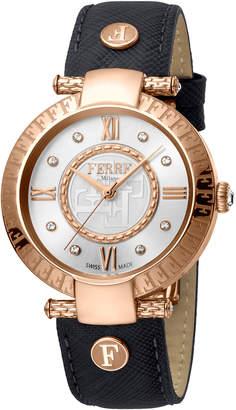 Ferré Milano 36mm Leather Watch w/ Logo Bezel, Black/Rose