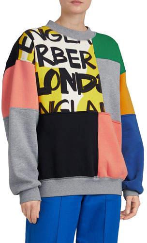 Colorblock Graffiti-Print Crewneck Sweatshirt
