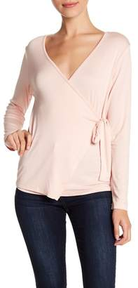 Bobeau Solid Long Sleeve Wrap Top (Petite)